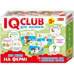 Развивающая игра Кто живет на ферме, на украинском языке IQ-club